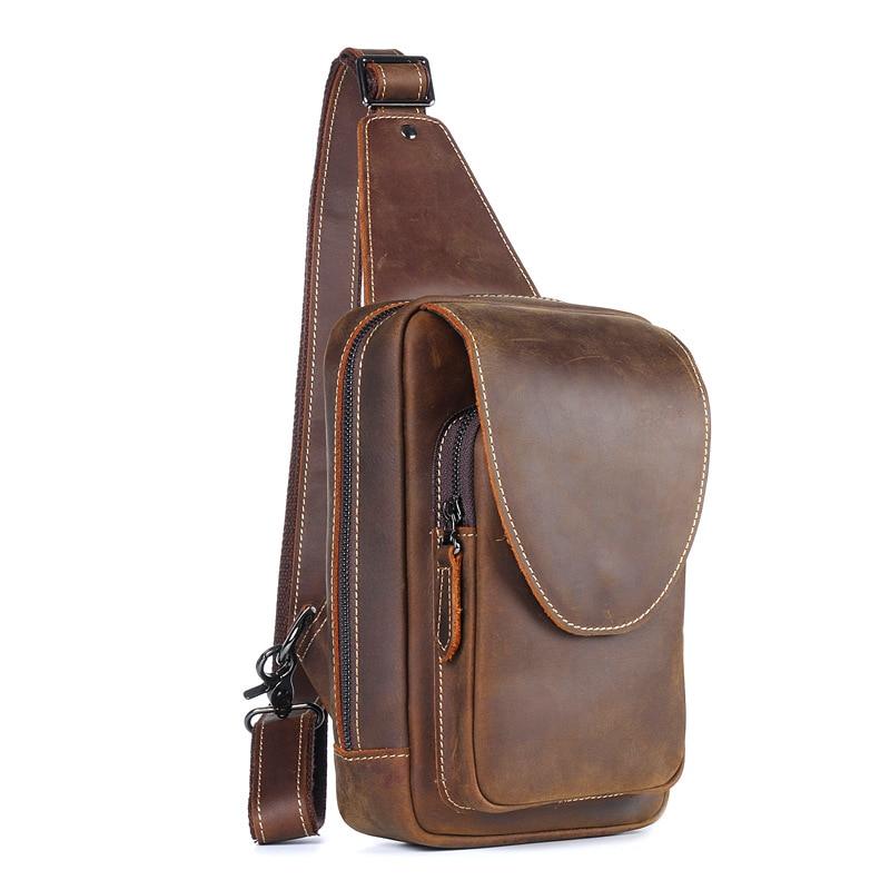 brown Handmade Leather Mens Pockets Crazy Horse Leather Chest Bag Retro Crazy Horse Leather Chest Bag Shoulder Bag