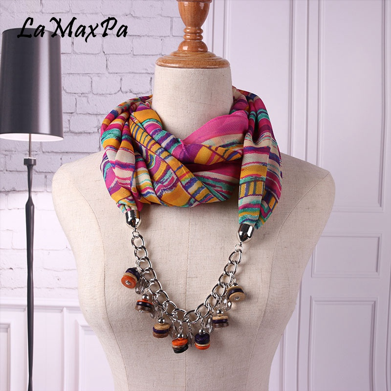LaMaxPa 2018 Newest Fashion Women Pendant Scarf Coconut Shell Material Pendant Echarpe For Female Gem Scarf Femme Elegant Schal