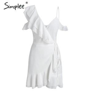 Image 4 - Simplee フリルコールドショルダーホワイトドレス女性ハイウエストラップシフォンドレス vestidos ストリートストラップカジュアル夏ドレス 2018