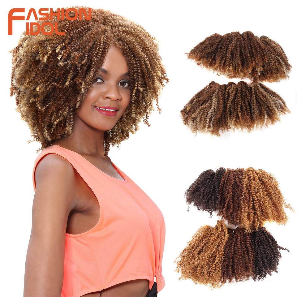 FASHION IDOL Hair Weaving Afro Kinky Curly Hair Bundles 16-20 inch 200g 6pcs/lot Synthetic Hair Natural Black Hair Extensions(China)