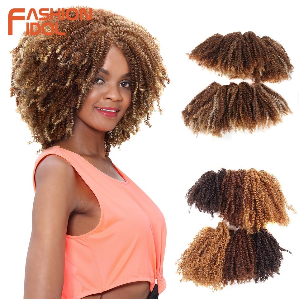FASHION IDOL Hair Weaving Afro Kinky Curly Hair Bundles 16-20 Inch 200g 6pcs/lot Synthetic Hair Natural Black Hair Extensions