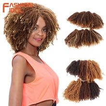 FASHION IDOL mechones de pelo rizado Afro, 16 20 pulgadas, 200g, 6 unidades/lote, extensiones de cabello negro Natural