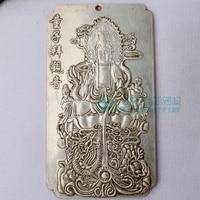 Ev ve Bahçe'ten Statü ve Heykelleri'de Çin tibet Gümüş Külçe Fengshui çocuk worshiped en guanyin muska Bel etiketi  asmak metal el sanatları