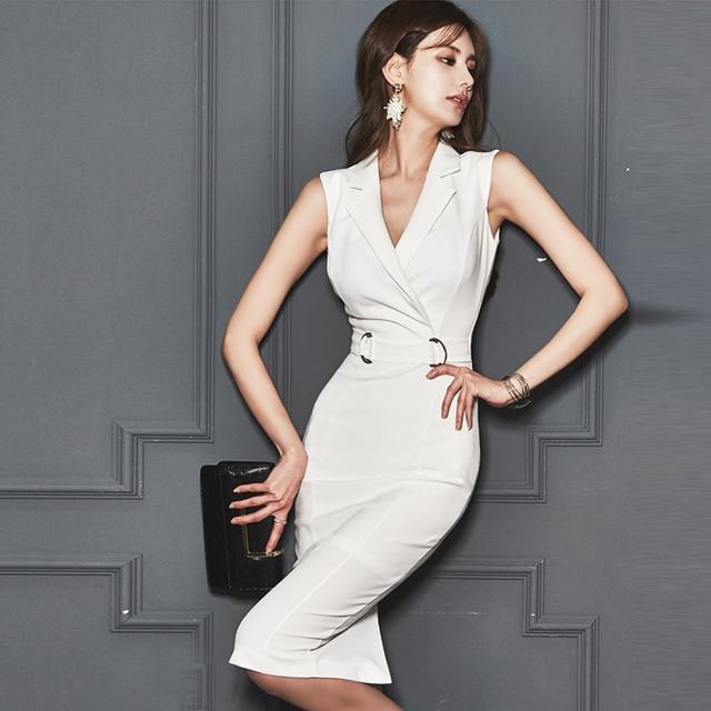 2018 Summer Women Party Elegant Interview Dress Korean Style Dresse Fashion Bodycon Vestidos Office Lady White