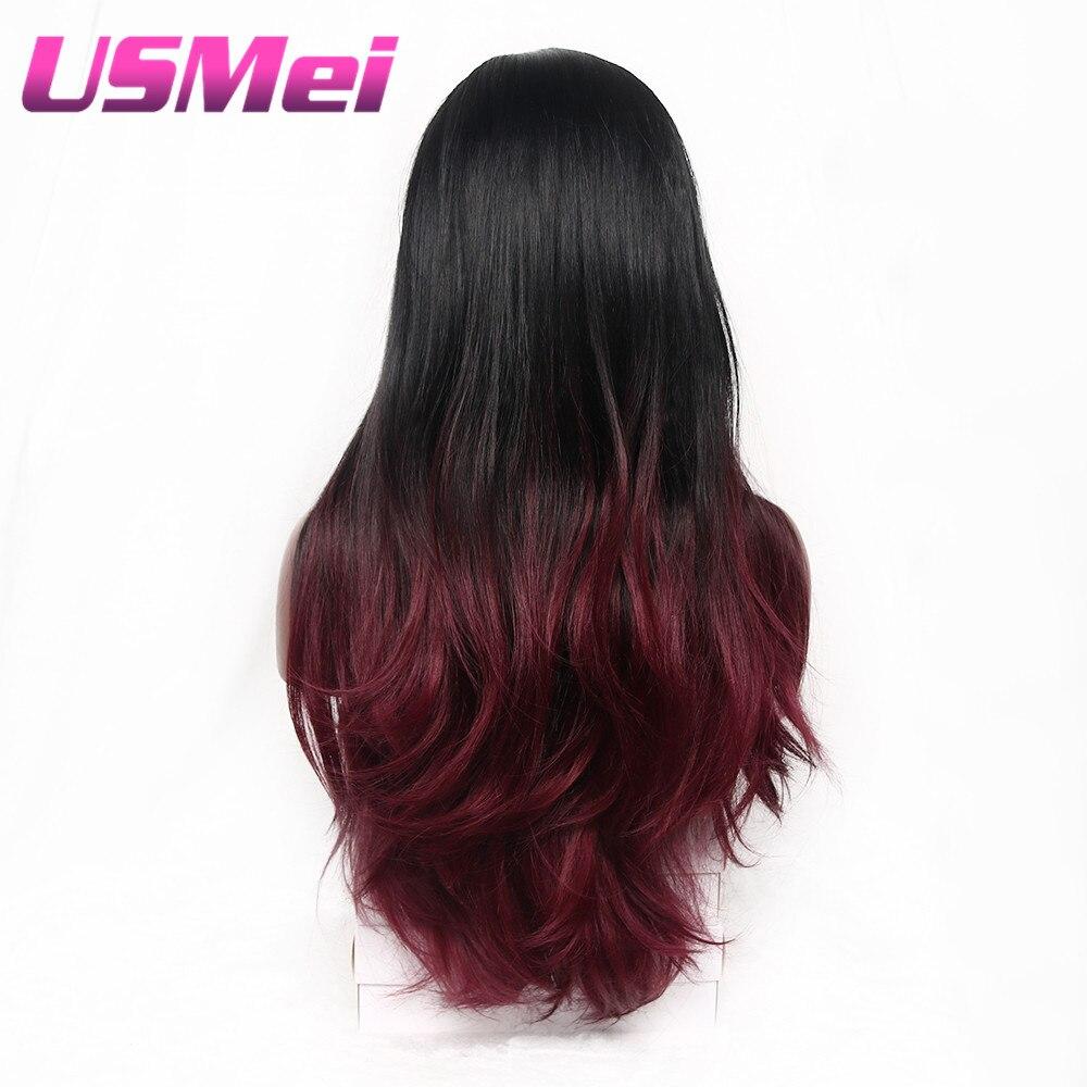 USMEI långa vågigt hår svart till röda Ombre peruker Inga spetsar - Syntetiskt hår - Foto 4
