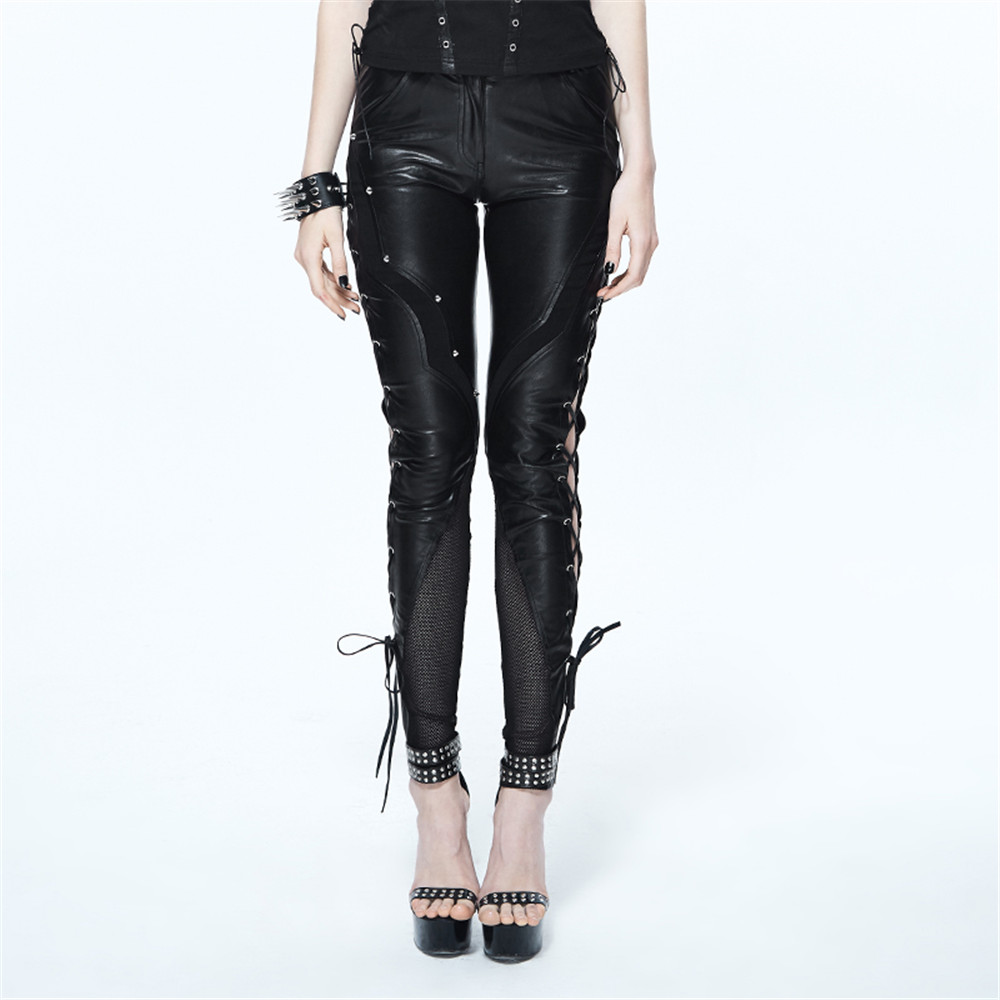 Steampunk Women PU Leather Pants Black Strentch Skinny ...