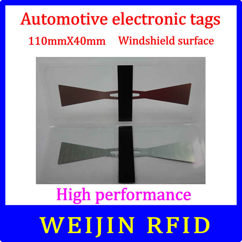 Car glass 11040 UHF RFID Tag 110mm*40mm lable Impinj Monza 4 chip,can be used for  Windshield surface Car management. 50pcs 74 21mm rfid gen2 uhf paper tag with alien h3 chip used for warehouse management