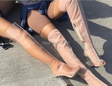 2016 Spring Autumn Women Clear Thigh High Boots PeepToe Over-the-knee Crystal Heel Transparent women Boots Perspex High Heel