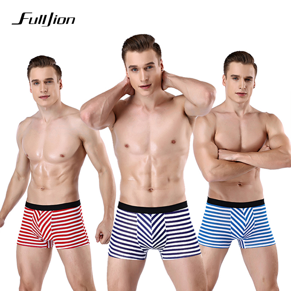 Fulljion Comfortable Cotton Striped Men Underwear Boxers New Sexy Men Boxers Modal Underpants Boxers Male Shorts Boxer Panties