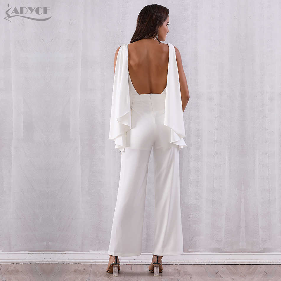 ae4fb9094132 ... ADYCE 2019 Women Celebrity Runway Jumpsuits White Halter Batwing Sleeve  Backless Rompers Women Jumpsuit Sexy Bodycon