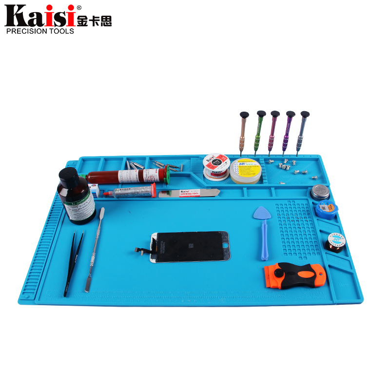 S-180 55x35cm Heat Insulation Silicone Pad Desk Mat Maintenance Platform for BGA Soldering Repair Station with Magnetic Section