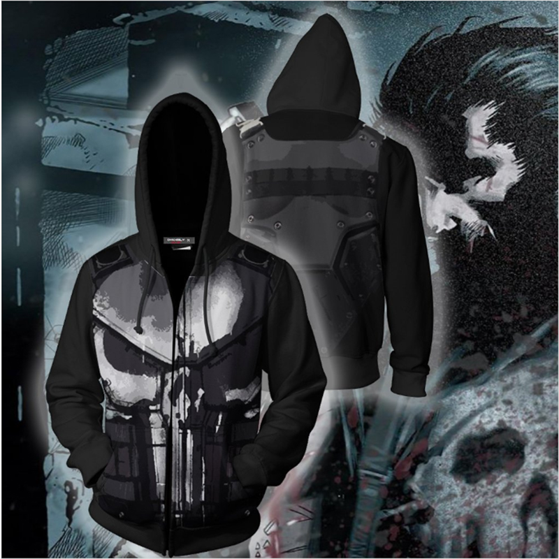 BIANYILONG Autumn Winter Punishe Cosplay Zip Up Hoodie Jacket 3D Print  Hoodies Sweatshirts Zipper Hooded Jacket Clothing