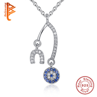 Brand New Crystal Blue Saphhire Evil Eye Pendant Necklace With 925 Sterling Silver Alphabet U Necklace