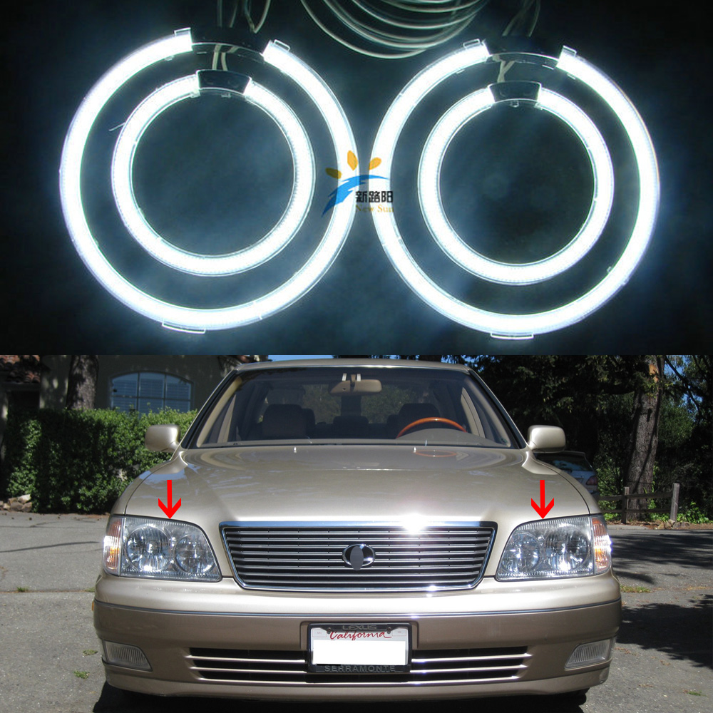 4pcs CCFL Angel Eyes Kit 7000K Halo Rings Headlight For lexus LS400 LS 400 1998 1999 2000 with 2 CCFL inverters 12V Car Styling купить