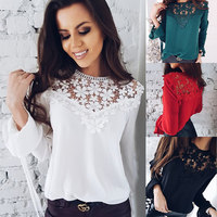 DERUILADY Spring Summer Loose Womens Tops And Blouses New Round Neck Long Sleeve Chiffon Blouse Lace