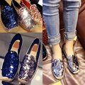 famous brand espadrilles women genuine leather glitter fisherman shoes woman flat heel bling loafers lady shoes chaussure femme