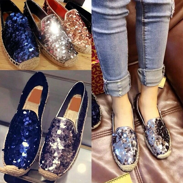 famous brand espadrilles women genuine leather glitter fisherman shoes woman  flat heel bling loafers lady shoes a5e10d559c86
