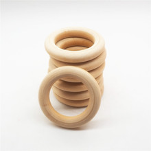 Chenkai 50pcs 40mm 1.6 baby Wooden Teether Ring Nature Teething infant shower pacifier dummy chewing sensory 10cm toy