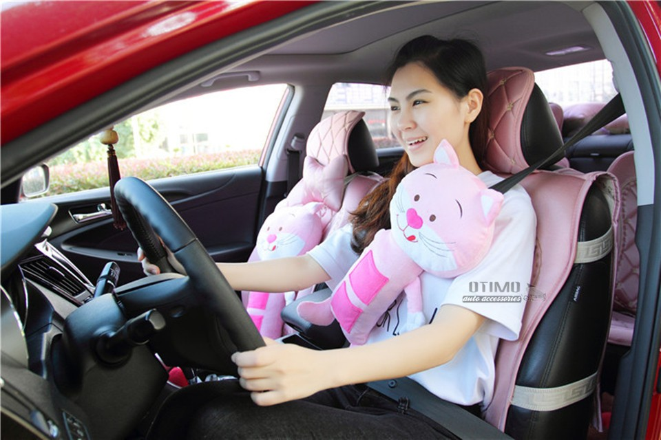 Shopping Cute Cartoon Hello Kitty Car Seat Belt Shoulder Padding Pink Cat Car Seat Belt Covers for Children Safety Protect Toys 1