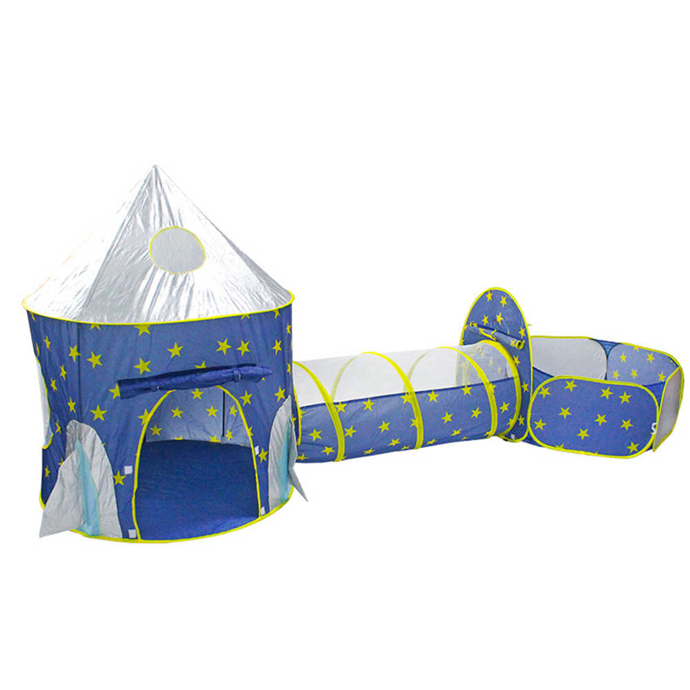 Children's Tent Tipi Infantil Foldable 3 In 1 Spaceship Baby Wigwam Rocket Ship Tent Kids Dry Pool Ball Box Children's Room Toys