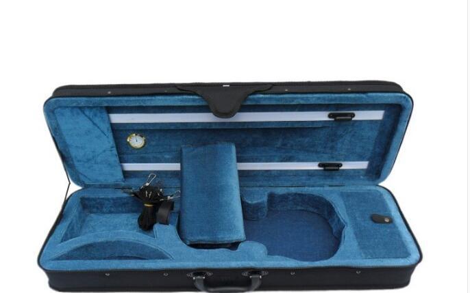 Lake Blue Interior High grade Portable Violin Case Square Box Package Gold Table Double Strap Cloth