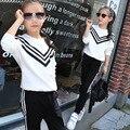 Маленькие девочки-подростки осенние костюмы устанавливает 2016 детей спортивные костюмы с длинным рукавом футболки брюки устанавливает для девочки черный белый