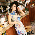 Daily High Vents Cheongsams Dress Fashion Slim Improved Cheongsam Dress New Silk elegant Dress