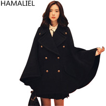 HAMALIEL Women Cloak Cape Black Woollen Coat 2017 Fashion Winter Wool Tweed Batwing Sleeve Poncho Causual Loose Thick Wool Coat(China)