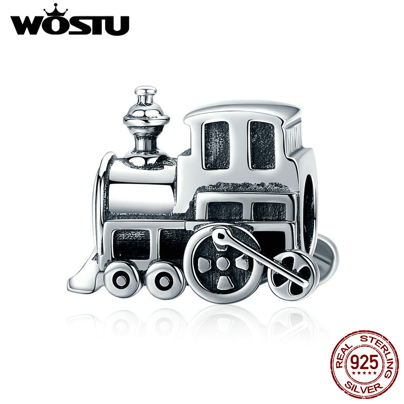 WOSTU High Quality 925 Sterling Silver Vintage Locomotive Train Car Beads fit Charm Bracelet DIY Silver Jewelry Making FIC507