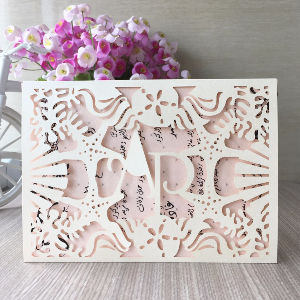 100pcs Lotnew Arrival Laser Cut Paper Cards With Sea Star Shell Decoration For Wedding Invitation Card Can Be Custom Initinals In Invitations From