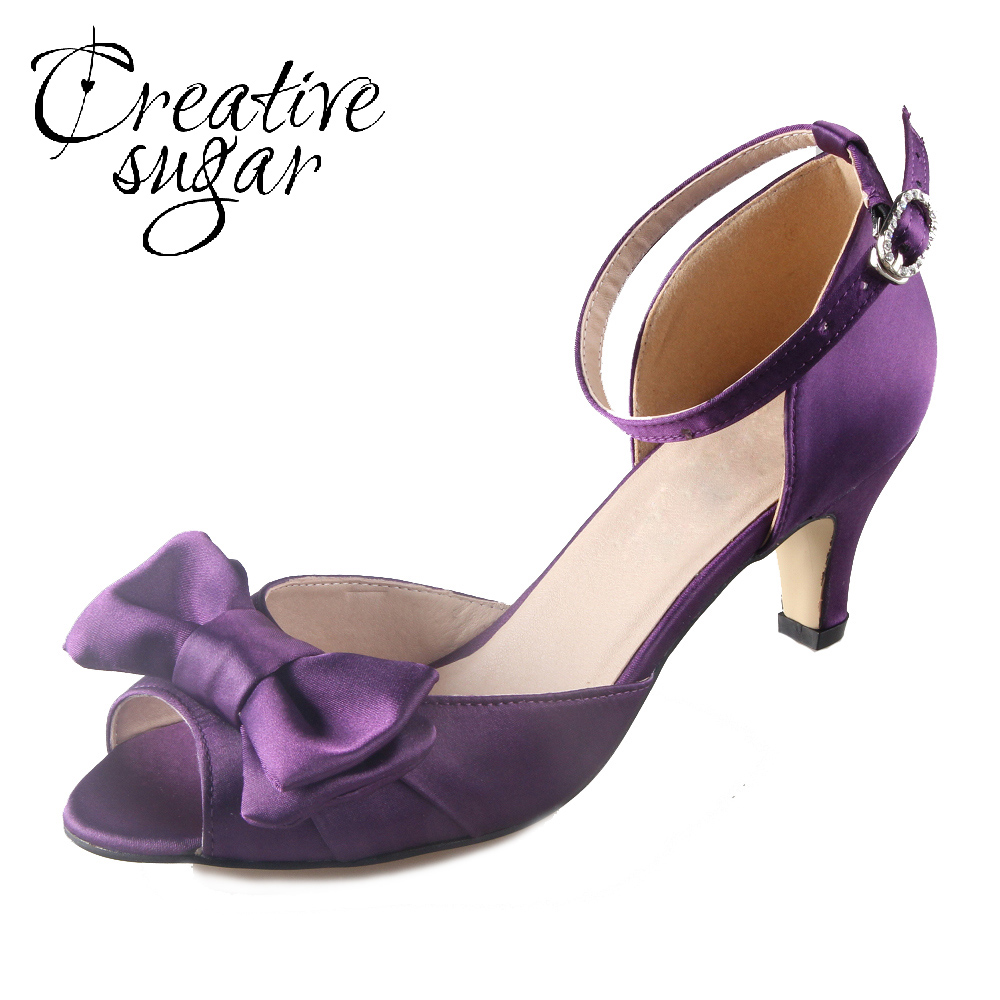 purple wedding shoes low heel creativesugar handmade purple eggplant satin 6925