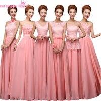 긴 견장 쉬폰 여자 우아한 신부 들러리 드레스 코르셋 드레스 여성 들러리 하나 어깨