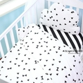 (Duvet cover 1pcs) baby bedding set black and white design baby quilt cover 1pcs dot triangle tree stripe pattern for girls boys