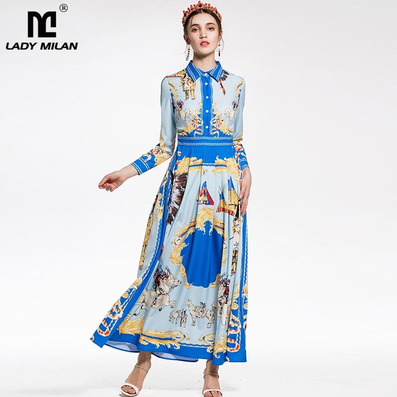 New Arrival 2018 Womens Turn Down Collar Long Sleeves Vintage Printed Elegant Designer Maxi Dresses