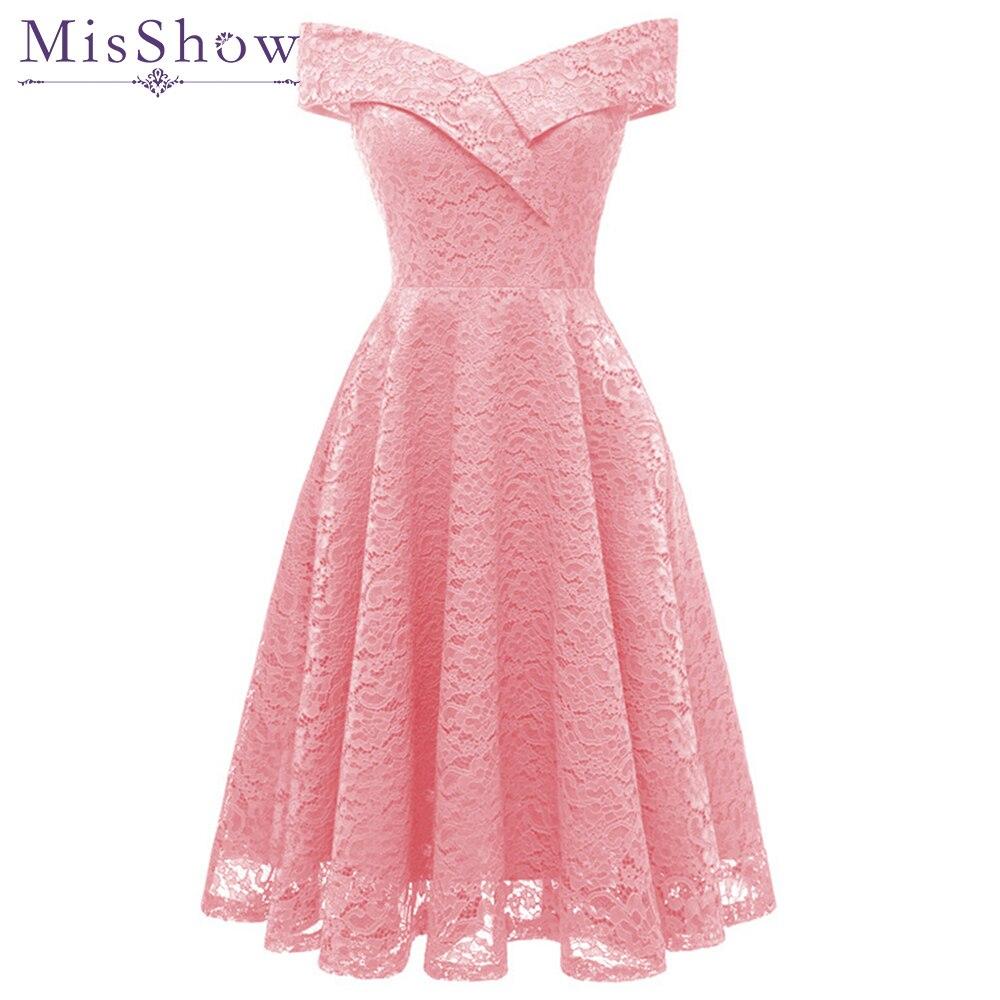 Talla Vestidos Grande Rosa De 2019 Encaje Noche Cortos