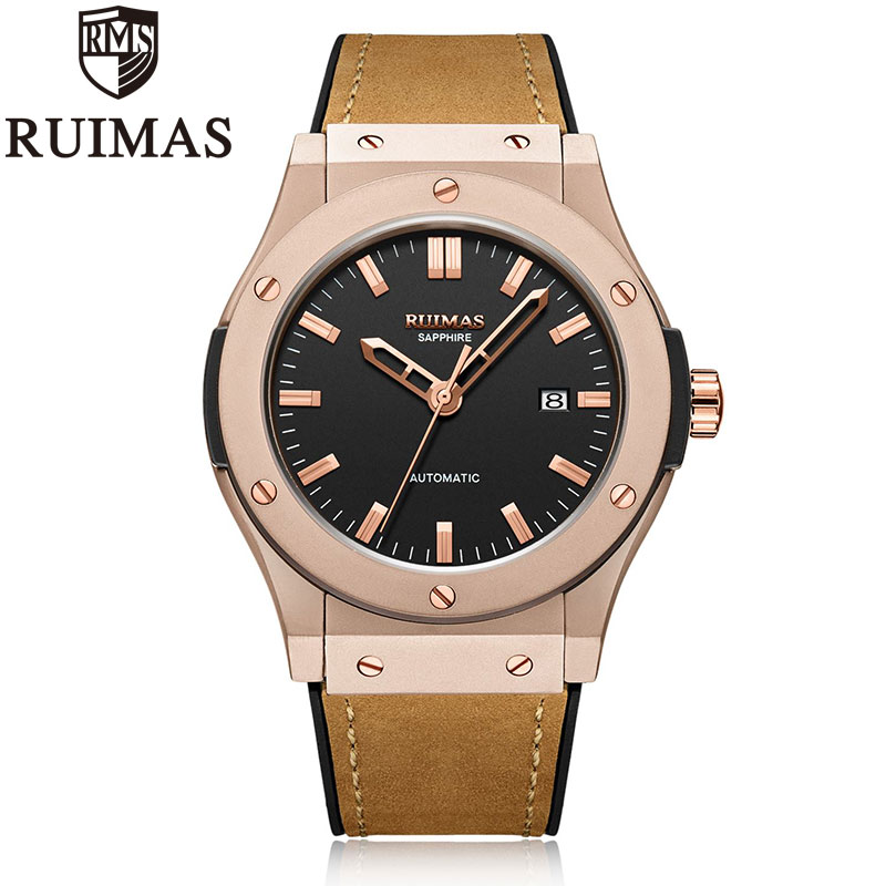 Ruimas Mens Watches Top Brand Leather Luxury Automatic Mechanical Luxury Watch Men Sport Wristwatch Mens Reloj Hombre Ruimas Mens Watches Top Brand Leather Luxury Automatic Mechanical Luxury Watch Men Sport Wristwatch Mens Reloj Hombre