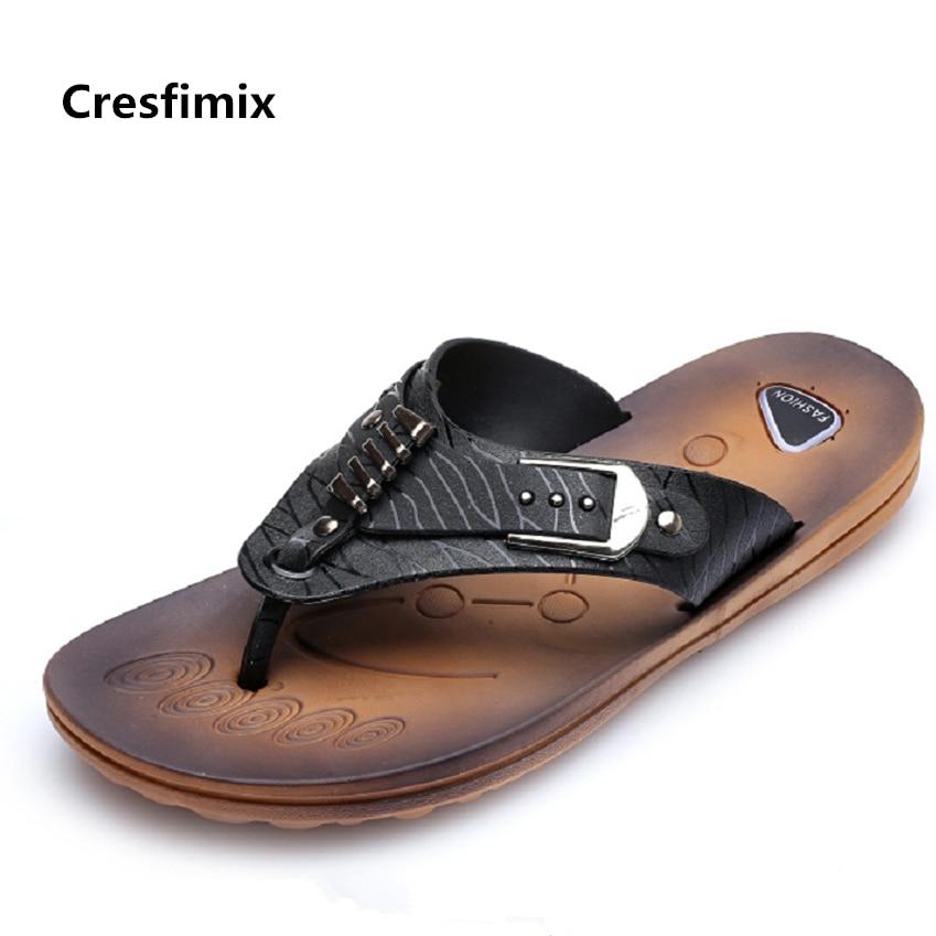 Cresfimix man fashion spring & summer black flip flops male cool comfortable outside beach flip flops men pu leather flip flops домашние костюмы flip перевод
