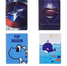 Fashion Cute cartoon with Super hero Pu leather stand holder smart cover case for ipad234