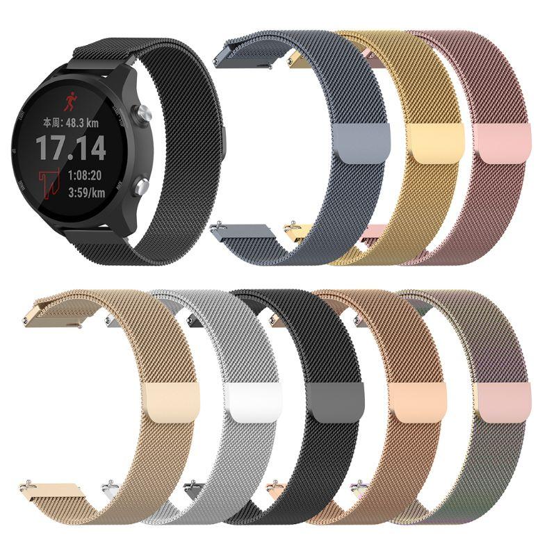 Stainless Steel Watchband Metal Magnetic Wrist Strap Replacement For Garmin Forerunner245m/245 Vivoactive3/Vivomove HR/Forerunne