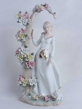 Porcelain Retro Girl Walking a Doggie Sculpture Ceramic Belle and Flowers FIgurine Decoration Art and Craft Ornament Accessories