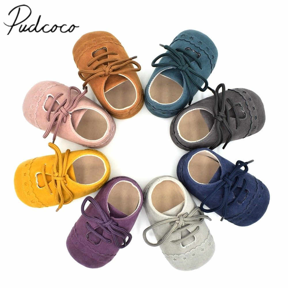 2018 Brand New Infant Baby Shoes Newborn Toddler Boys Girl Soft Sole Crib Shoes Cute Moccasins Casual Flower First Walkers 0-18M