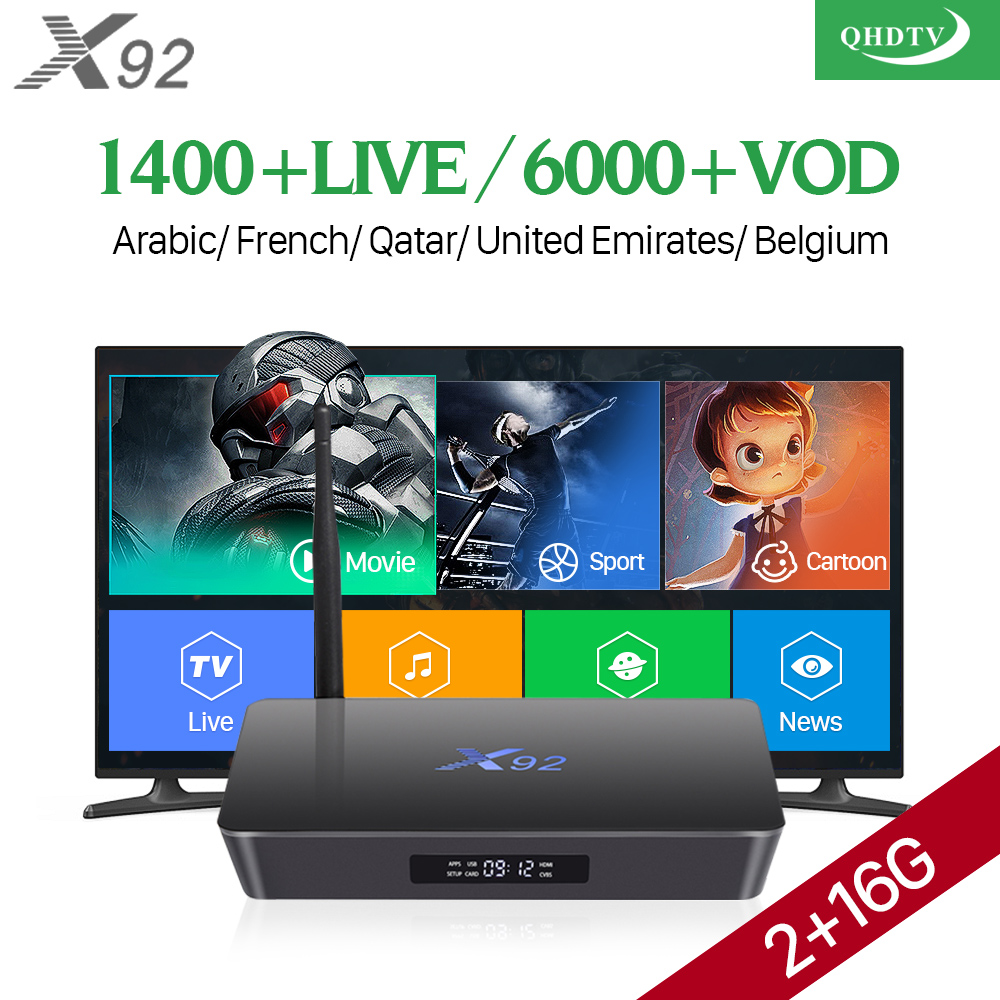 QHDTV 1 Year X92 Smart Android 7.1 TV Box Amlogic S912 2GB 16GB Octa Core IPTV Europe Dutch Netherlands Arabic French IPTV Box amlogic s905w quad core android 7 1 tv box tx3 mini 2gb 16gb 1 year qhdtv pro account subscription europe french arabic iptv box