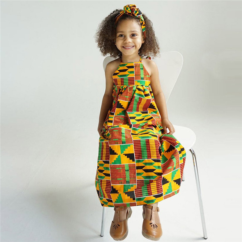Toddler Baby Girls African Print Off Shoulder Hair Band Princess Casual Dress vestido robe fille  #4j12 (8)