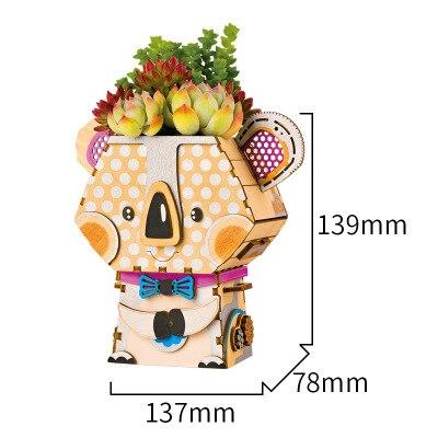 Новая идея подарка мультяшный горшок серии 3D паззлы деревянные DIY головоломки дизайн замочки украшение комнаты милый подарок обучающий инструмент - Цвет: Красный