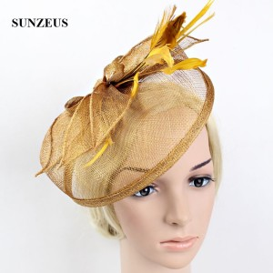 Image 5 - Wedding Hats and Fascinators Feathers Linen Elegant Bridal Hats Golden Color Womens Hat Hair Accessories SH13