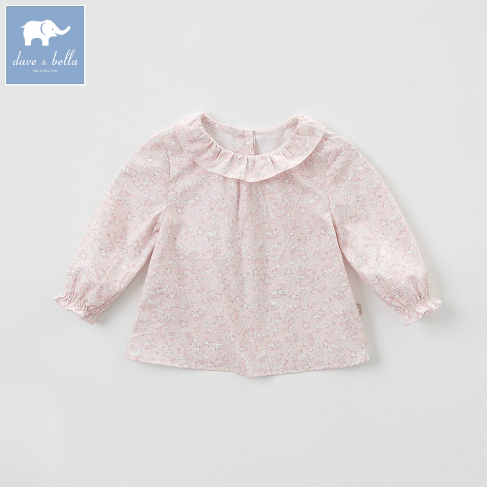 DB5507 dave bella spring autumn cotton baby girls t shirt baby T-shirt infant clothes toddle tops girls floral blouse new