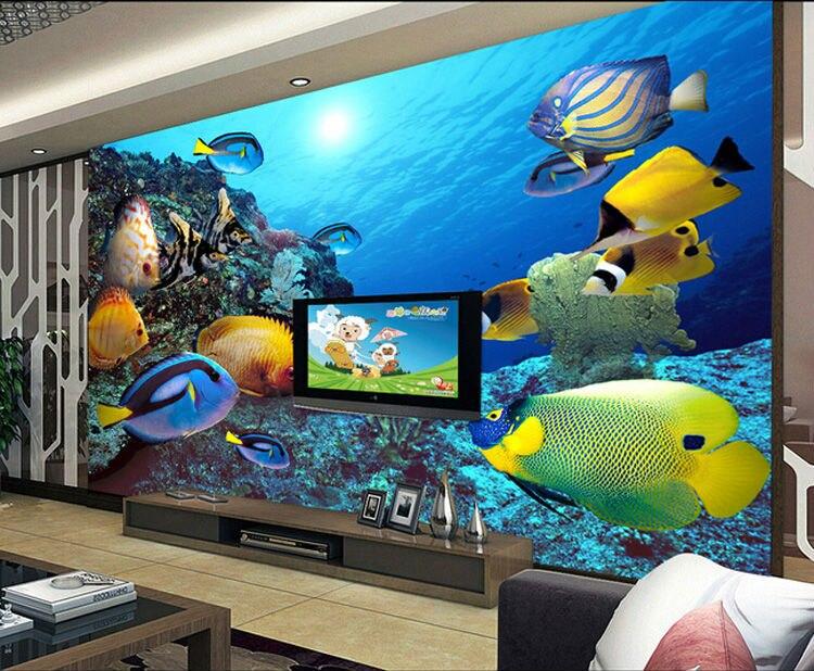 Oural 3d stereoscopic large mural wallpaper underwater for Children s mural wallpaper
