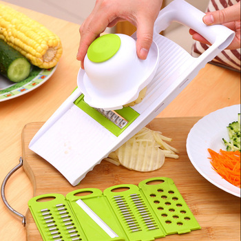 5 IN 1 Multifunction Kitchen Chopper Slicer Tools Vegetable Fruit Peeler Cutter Potato wire feeder image