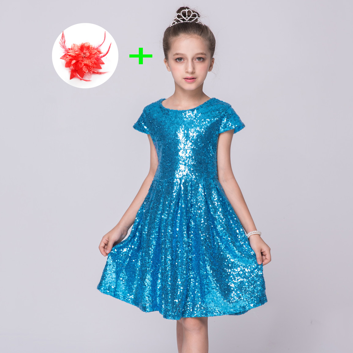 Children 2 To 8 10 Years Kids Baby Girls Clothing Dresses Sequins Princess Party Bling Knee Length Formal Evening Dresses