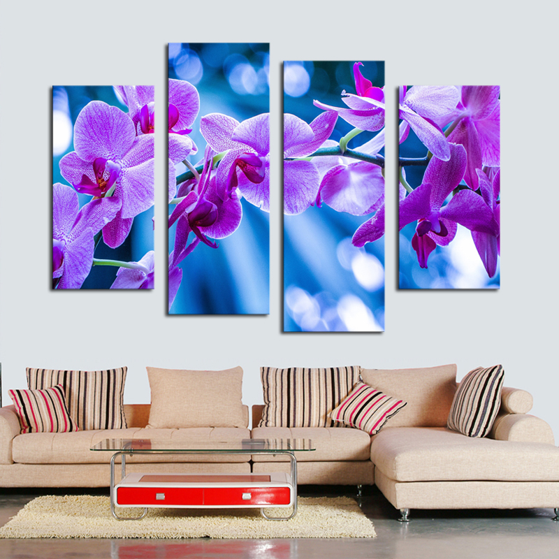 4 Pieces Dreamy Purple Flower Canvas Pictures For Living Room Wall Art Oil Painting Unframed Home Decor Modern Paintings In Calligraphy
